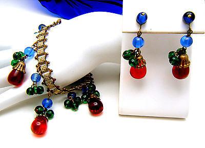"""Fabulous Vintage Gripoix Glass Drops 8"""" Bracelet Earring Set Red Green Blue on Lookza"""