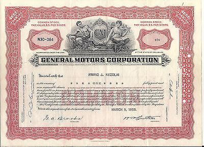 Stock certificate General Motors Corp 1955. Delaware