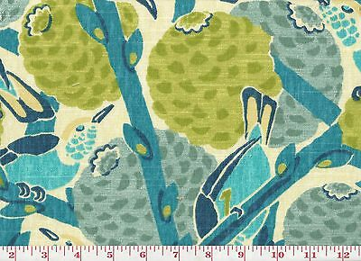 Tropical Floral Birds Drapery Upholstery Fabric PK Lifestyles So Fly CL Pool Blu