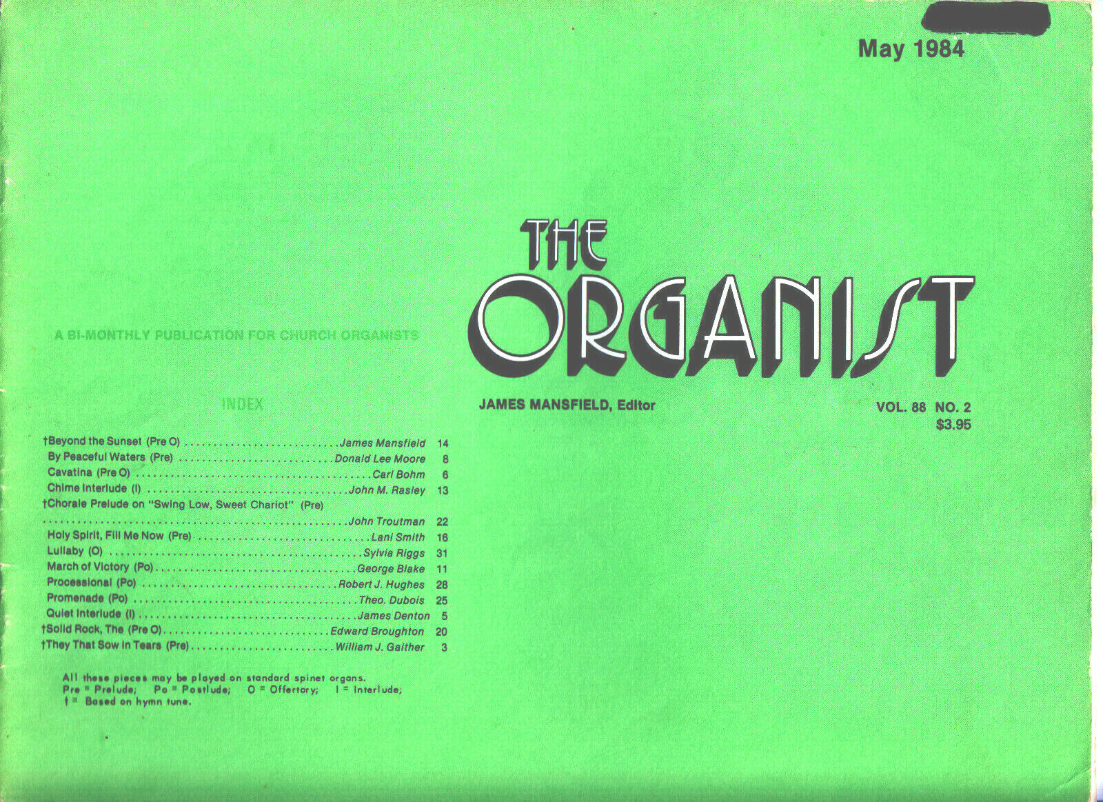 ORGAN MUSIC - THE ORGANIST - MAY 1984 - $4.99