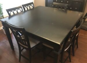 Black square pub table with 8 chairs