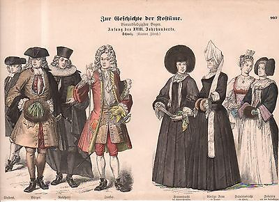1880 Chromo Fashion print of 1700's Switzerland Student, citizens and leaders