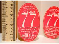 "#4777 Cuba Havana 77 Hotel Plaza vintage style 4/"" Luggage Label Decal Sticker"