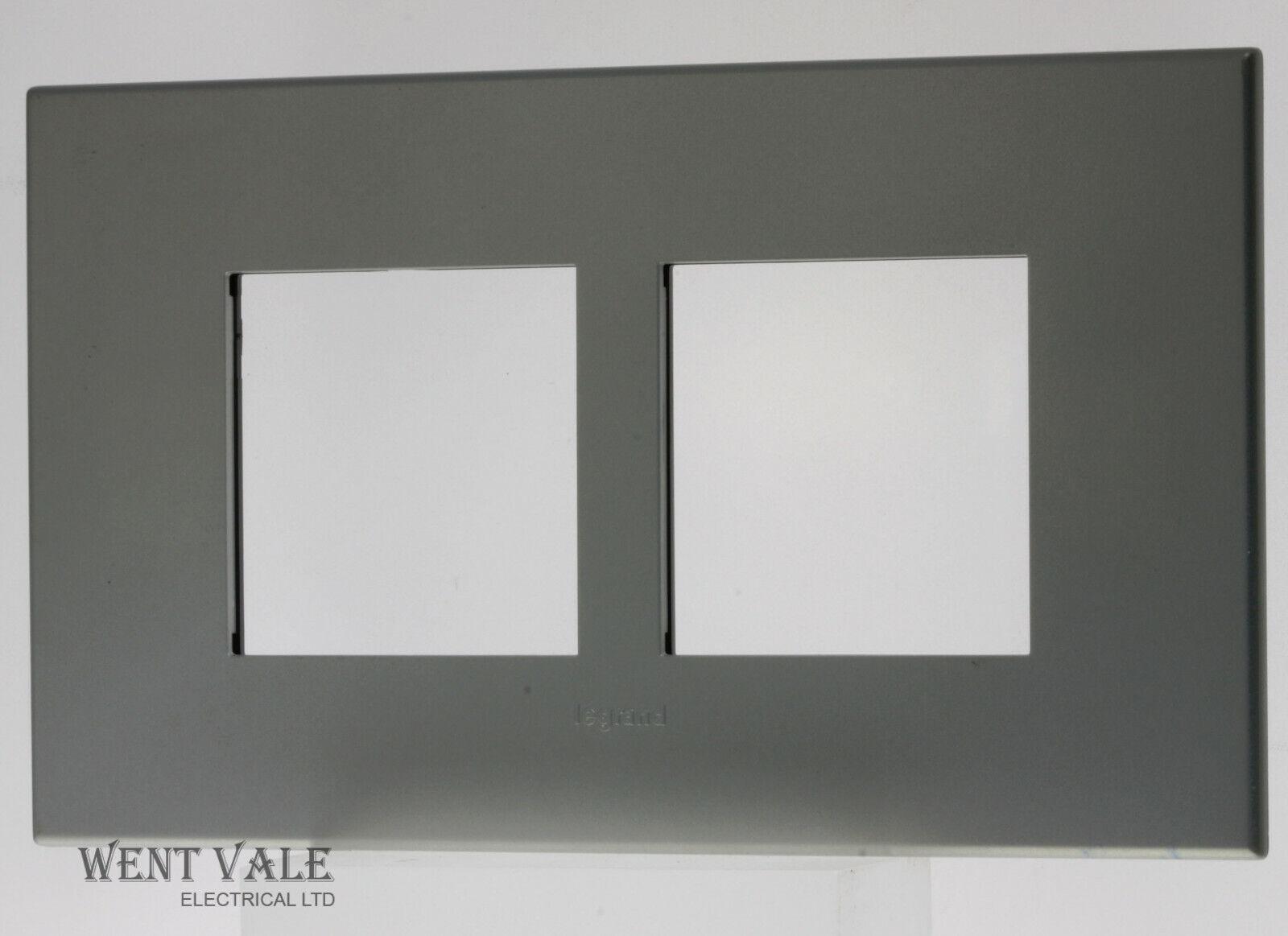 Legrand Arteor Neutral Range - 5750 81 - 4 Modual 2 x 2 Square Cover Plate In Pearl Aluminium