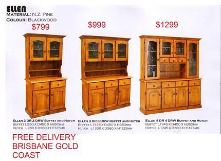 Buffet Hutch Lead Light Solid Pine Rent Or Buy Model Ellen Ridge Sumner Brisbane South West Preview