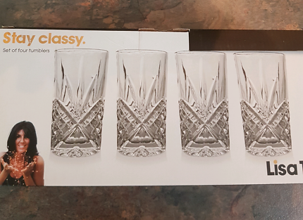 Brand new in box 4 glass tumblers