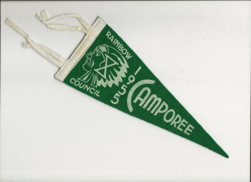 PENNANT GREEN 9 inches - RAINBOW COUNCIL / 1955 CAMPoREE Boy Scout BSA A132/4-4
