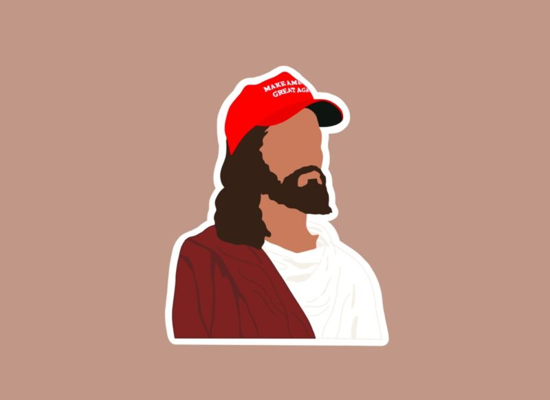 Jesus MAGA Hat | Waterproof Sticker | Republican Conservative Donald Trump