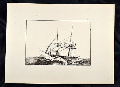 Le Comte 1831 Schepen Schiff Segelboot Sailing boat Ship Marine Sturm Wave Barca