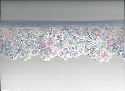 WALLPAPER BORDER DIE CUT DIECUT FLORAL FLOWERS BLUE  - Floral Die Cut Wallpaper Border