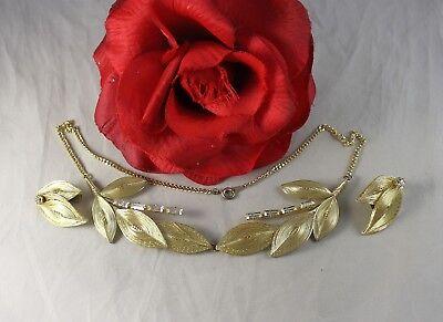 Vintage Germany Gold tone Leaf Rhinestone Necklace Earrings   Set  CAT (Germany Gold Leaf)