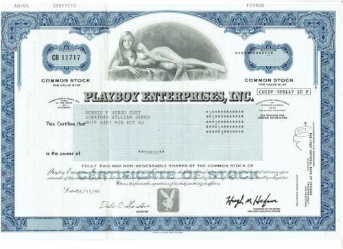 Official~ 1984 Playboy Enterprises Stock Certificate - Wily Rey - Blue    RARE