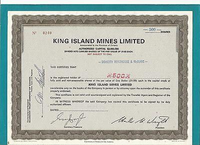 Aktie-Kanada-Ontario-KING ISLAND MINES LIMITED-