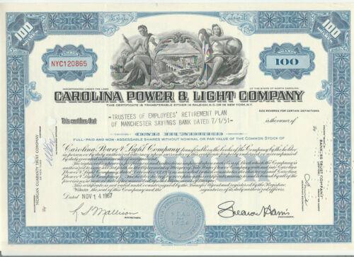 Carolina Power & Light Company Stock Certificate