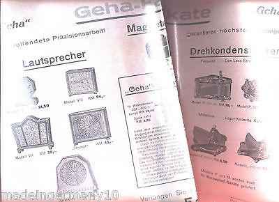 """ GEHA Fabrikate "" Laden Reklame Plakat für Lautsprecher & Drehko s  ca 1930"
