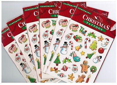 6 NEW packs Temporary Christmas XMAS Tattoos 12 Sheets NEW in Pack - Christmas Tattoos