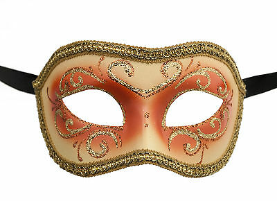 Mask from Venice Colombine or Civet Orange and Golden for Fancy Dress 680 E9B