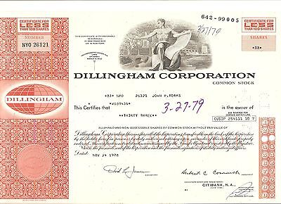 Alte Aktie USA Stock Wertpapier Dillingham Corporation 1978