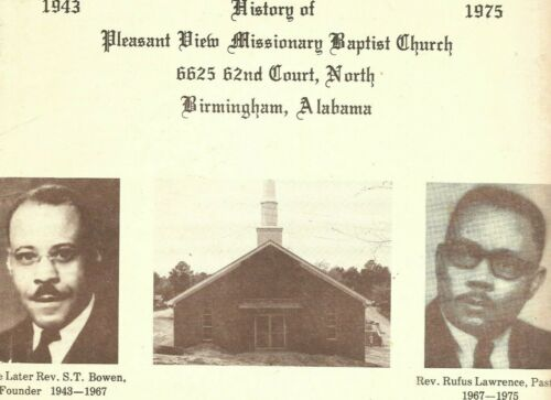 1975 birmingham black church history: Pleasant View Missionary Baptist ALABAMA