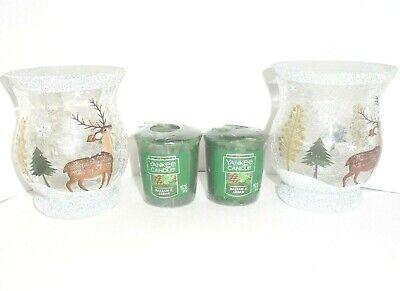 Yankee Candle 2x Balsam & Cedar w/ 2x Crackle Glass Deer Holders - Free Ship