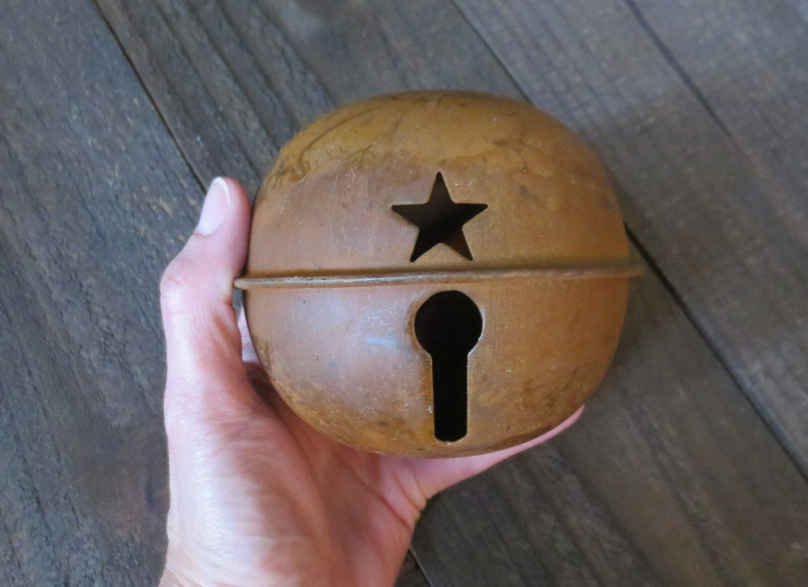 Large 5.5 inch Rusty Jingle Bell Primitive Decor Rustic Country Winter Holiday