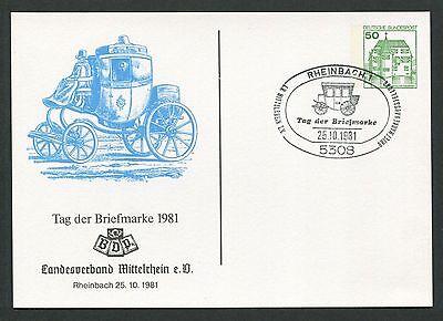 BRD PRIVAT-GA 1981 TAG DER MARKE PFERDE-KUTSCHE PFERD HORSE RHEINBACH d6154
