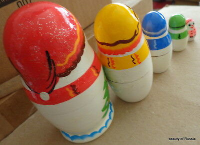 Christmas Snowman WOOD Hand Painted RUSSIAN NESTING DOLL 5 Pcs 4.2  - $19.99