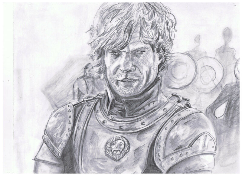 BADASS TYRION 8.5x11 Peter Dinklage GOT Pencil Drawing Original Celeb Gift FS
