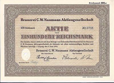 Brauerei C.W. Naumann AG 100 RM 1941 Leipzig