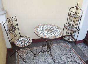 dekobote metall mosaik tisch regal stuhl eckregal gartentisch garnitur balkon ebay. Black Bedroom Furniture Sets. Home Design Ideas