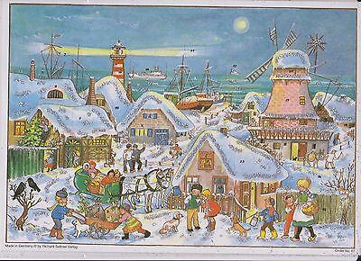 1 Sellmer Adventskalender mit Glimmer Schnee Kinder Tiere Mühle Küste Nr.47