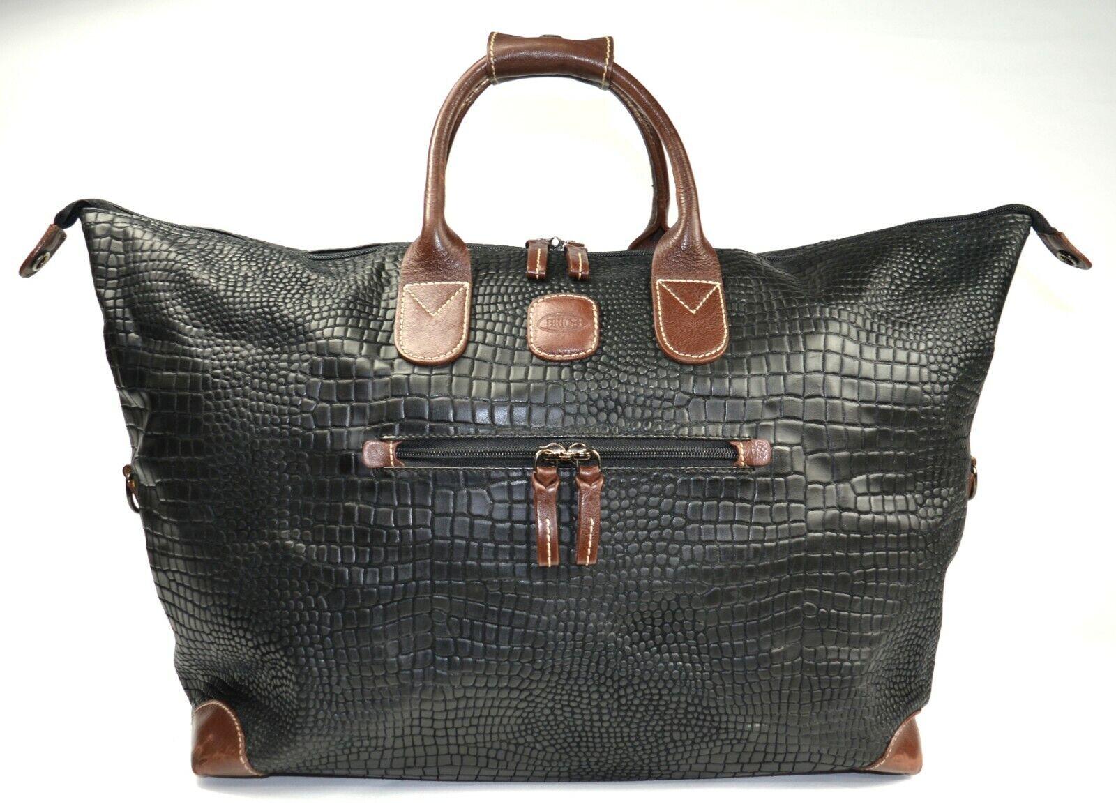 BRIC S Luggage My Safari 18 In. Crocodile-Embossed Cargo Duffel Black  - $100.99