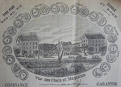 Cognac Fins - ARNAUD FILS , NARBONNE, VINS FINS EAU DE VIE COGNAC RHUM, 1885, HOSPICES DE LYON