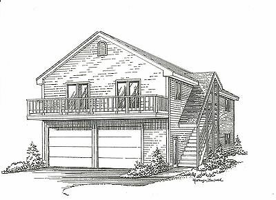 28 x 44 2 Car Garage Structure Plans w/ 2nd Floor Open Loft Area & Exterior Stair