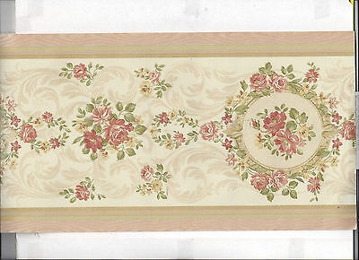 WALLPAPER BORDER ROSES FLOWERS IN ROUND FRAMES NEW ARRIVAL FLORAL SATIN FINISH