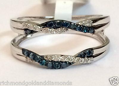 White Gold Wave Design Solitaire Enhancer Blue Diamonds Ring Guard Wrap Jacket
