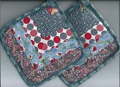 Set Handmade Hotpads Kitchen Potholders Pieced Blues Cotton Chevron Design 7 X7