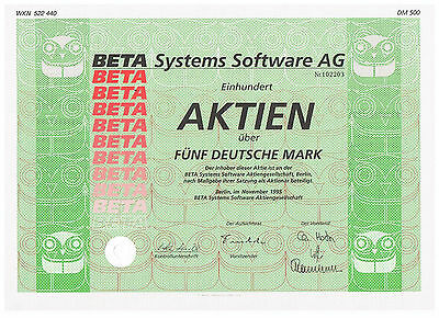 Beta Systems Software AG Berlin Inhaber-Aktie über 100 x 5 DM aus 1995