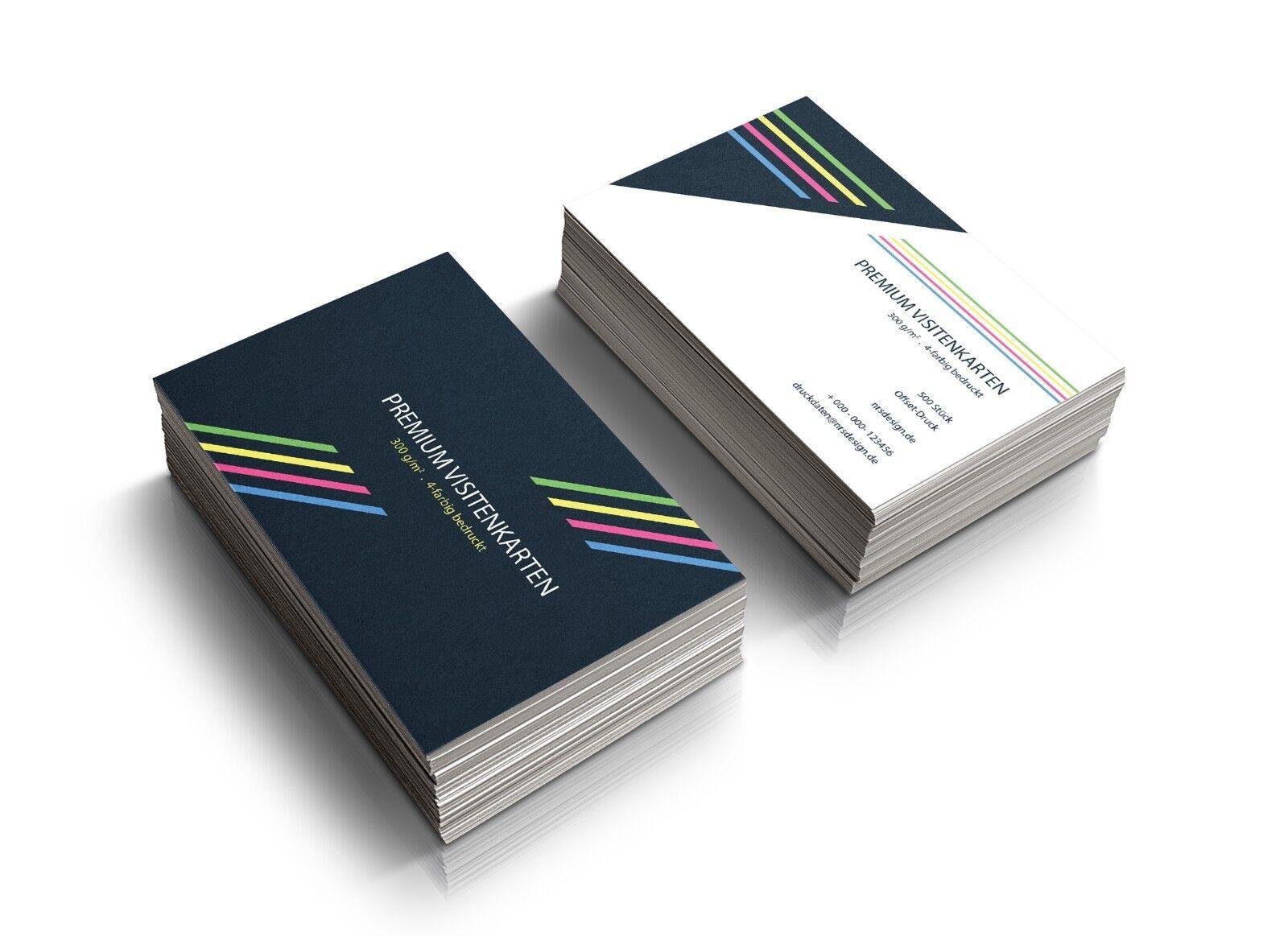 500 Visitenkarten drucken einseitig oder beidseitig farbig Offsetdruck