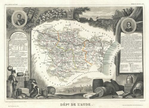 1852 Levasseur Map of the Department L