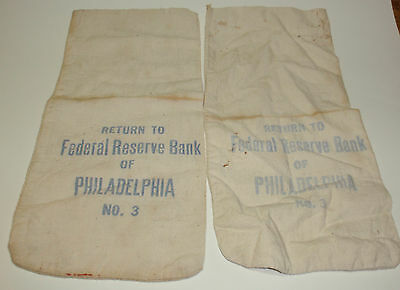 "2 Bags Federal Reserve money bag Philadelphia PA No  3 13"" by 6.5"" <<<<<<<<<<7d"