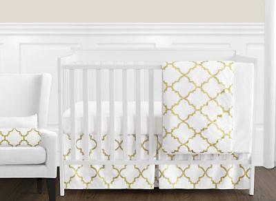 (Bumperless Luxury White And Gold Trellis Geometric Baby Girl Crib Bedding Set)