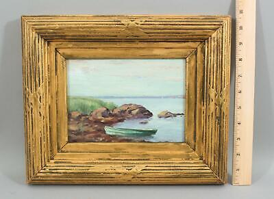 Small American Impressionist Maritime Seascape Rowboat Oil Painting & Gilt Frame Impressionistic Oil Painting