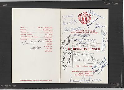 Signed Manchester United 1st Reunion Dinner Menu 21st March 1986
