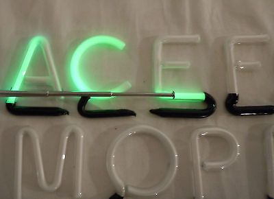 """25 Vintage 2"""" Green Neon Individual Sign Letters - Tested & Working"""