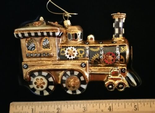 NEW Mackenzie Childs STEAMPUNK TRAIN LOCOMOTIVE Glass Ornament with Gift Box