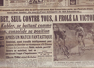 journal l 39 quipe 04 08 50 cyclisme tour de france 1950 kubler geminiani ebay. Black Bedroom Furniture Sets. Home Design Ideas