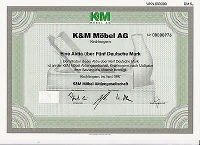 BRD Historisches Wertpapier Aktie K & M Möbel AG 5 DM 1997