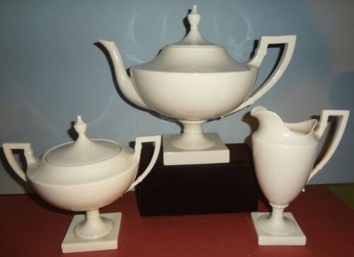 VR c1894-98 C.A.C. BELLEEK by LENOX 3 PC. TEA SERVICE -Palette Mark F - PRISTINE