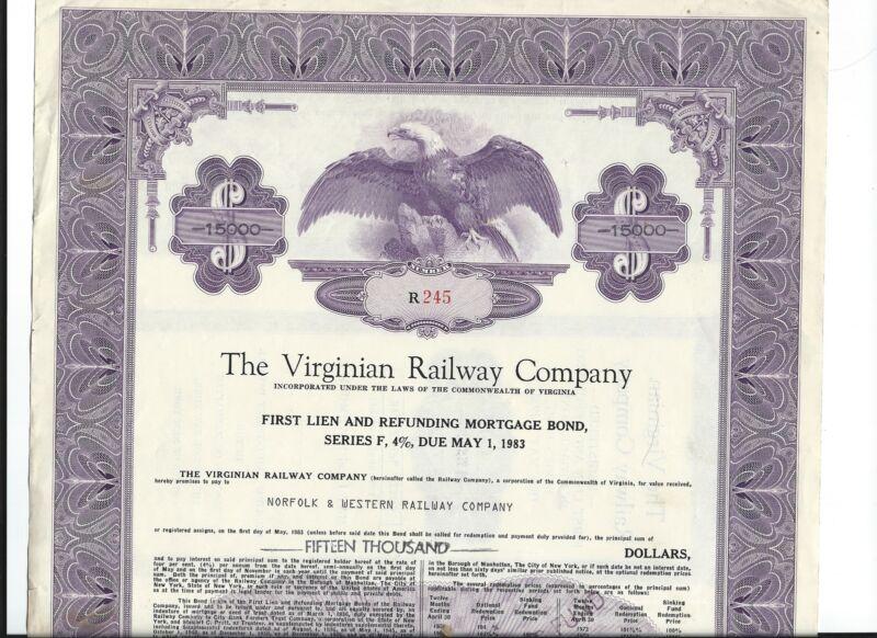 1972 Virginia Railway  RR STOCK Certicate/Bond
